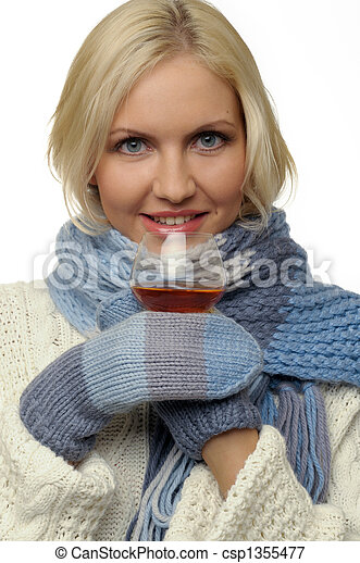 Freezing girl with cognac - csp1355477