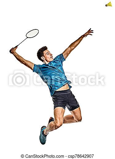 freigestellt, badminton, hintergrund, spieler, junger mann, weißes - csp78642907