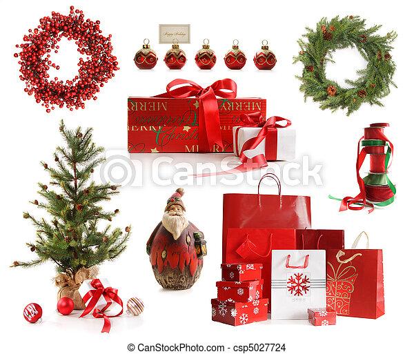 freigestellt, gegenstände, weihnachten, gruppe, weißes - csp5027724