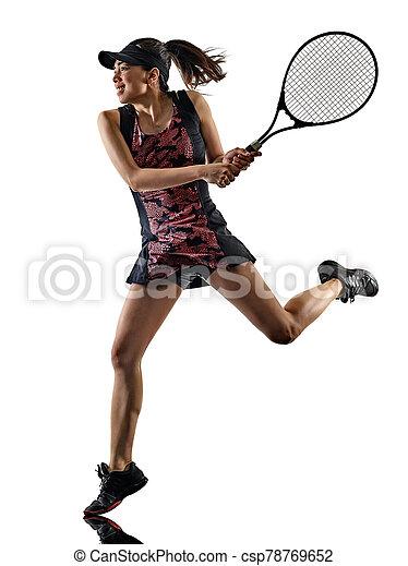 freigestellt, silhouette, brackground, asiatisch, spieler, junge frau, weißes, tennis - csp78769652
