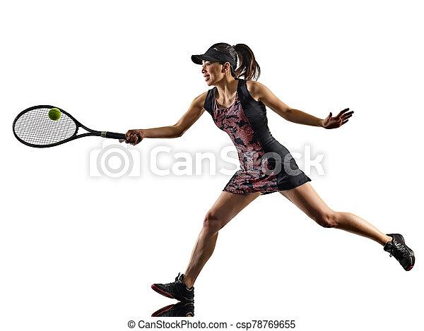 freigestellt, silhouette, brackground, asiatisch, spieler, junge frau, weißes, tennis - csp78769655