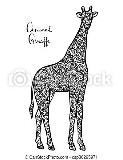 Freigestellt Stilisiert Hintergrund Vektor Zentangle Giraffe Weißes