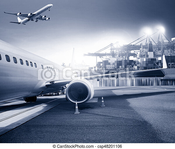freight cargo plane in airport and container shipping port background for logistic business theme - csp48201106