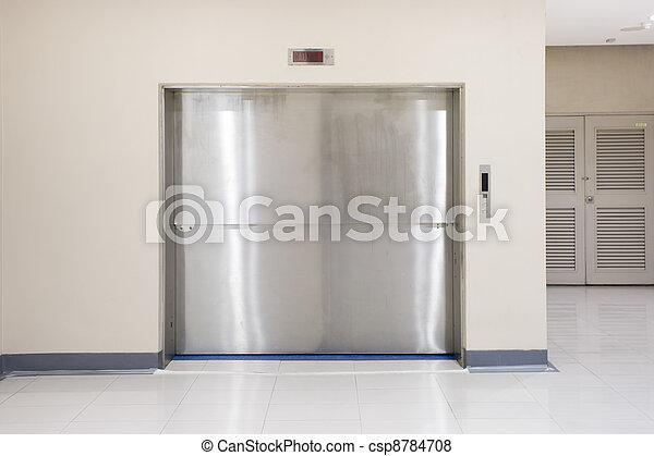 Freight Elevator Door - csp8784708 & Freight elevator door. Two section slide-up door of freight ...
