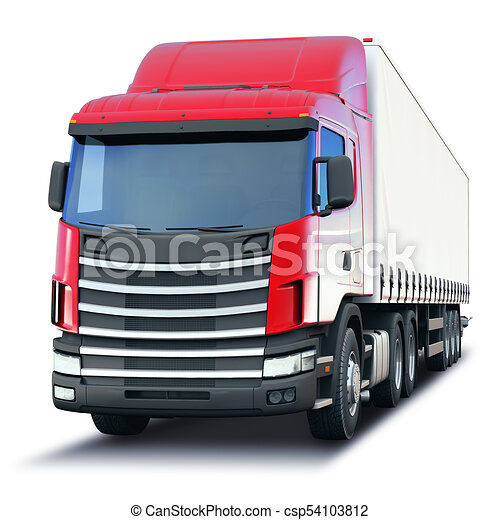 Freight semi-truck isolated on white background - csp54103812