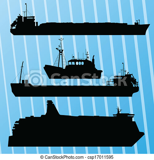 Freight ship, fishing boat and travel ferry boat set silhouettes vector background - csp17011595