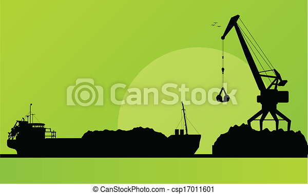 Freight ship in harbor, coal loading with crane vector - csp17011601