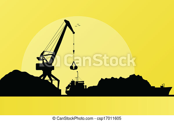 Freight ship in harbor, coal loading with crane vector - csp17011605