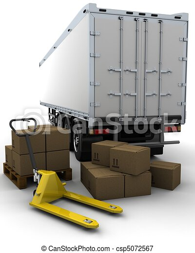 freight trailer and shipping boxes - csp5072567