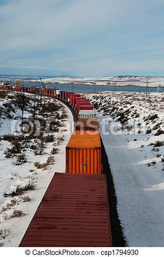 Freight train in winter - csp1794930