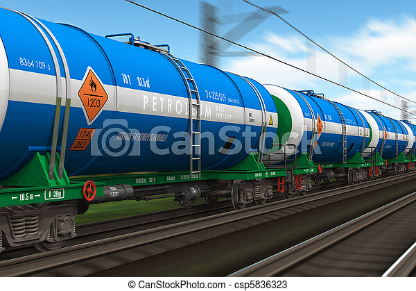 Freight train with petroleum tanks - csp5836323