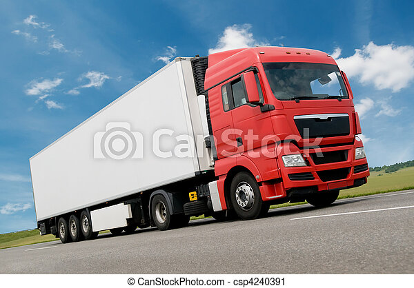 freight truck on road - csp4240391