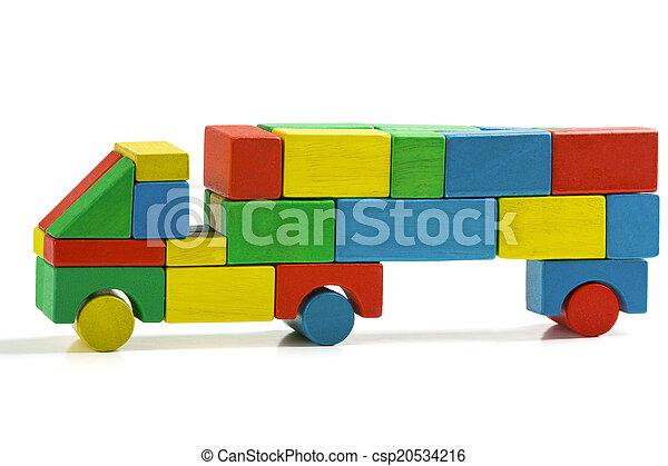 freight truck toy blocks, multicolor car wooden transportation - csp20534216