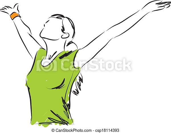 freiheit, m�dchen, atmen, abbildung - csp18114393