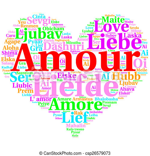 French: Amour  Heart shaped word cloud Love, on white