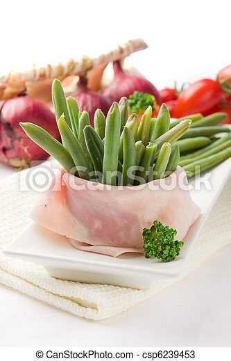 French Beans with wrapped ham - csp6239453