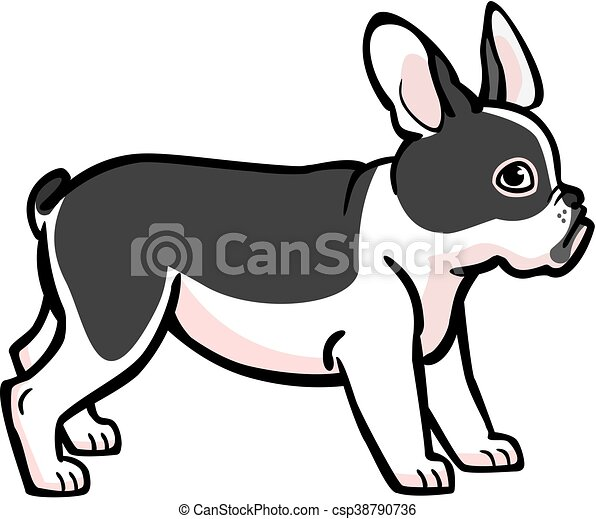 illustration of a cute black and white french bulldog vectors rh canstockphoto ie french bulldog sitting clipart french bulldog clipart black and white