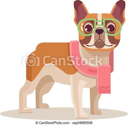 French Bulldog Vector Flat Cartoon Illustration