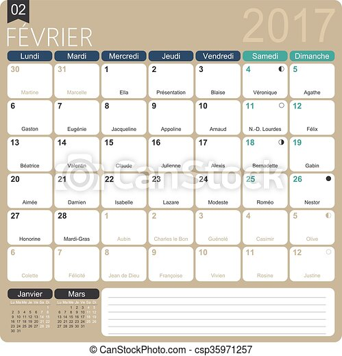 French Calendar 2017 February 2017 French Printable Monthly