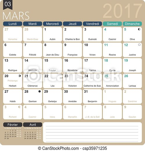 French Calendar 2017 March 2017 French Printable Monthly Calendar