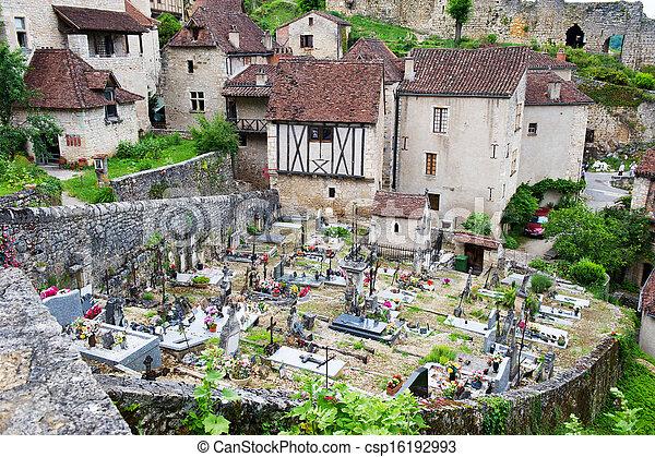 French cemetery in Saint-cirq-Lapopie - csp16192993