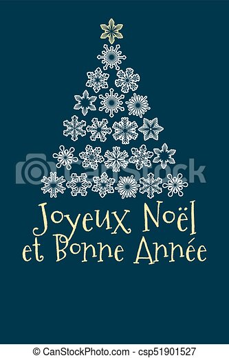 French christmas and new year greeting card vector christmas tree french christmas and new year greeting card csp51901527 m4hsunfo
