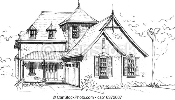 French Country Style House Stock Illustration