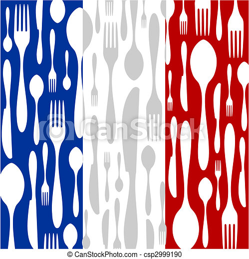French Cuisine: Cutlery pattern on the country flag - csp2999190