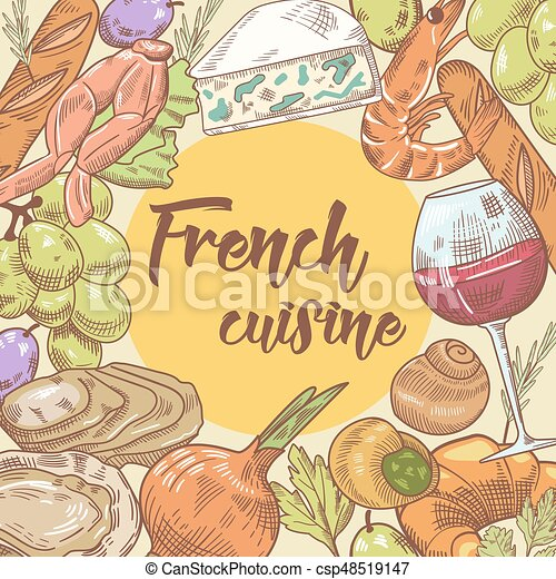 French Cuisine Hand Drawn Design With Cheese Wine And Seafood Food Drink Vector Illustration