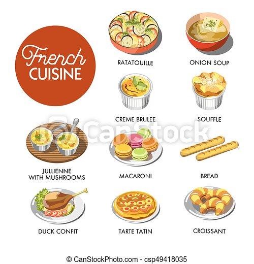 French Cuisine Menu Vector Illustration Of Different Dishes