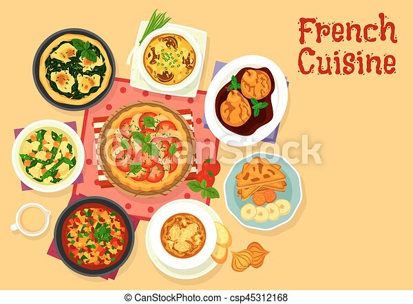French Cuisine Tasty Dinner Icon For Food Design