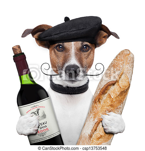 french dog wine baguette beret - csp13753548