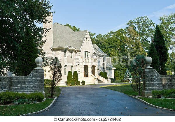 French Eclectic Revival style single family house/chateau in suburban Philadelphia, Pennsylvania - csp5724462
