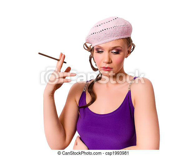 5d2887f3fd6 french female in beret smoking isolated - csp1993981