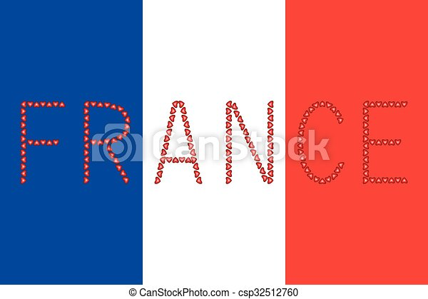 french flag and word france from hearts french flag in correct rh canstockphoto com french flag clip art french flag animated clip art