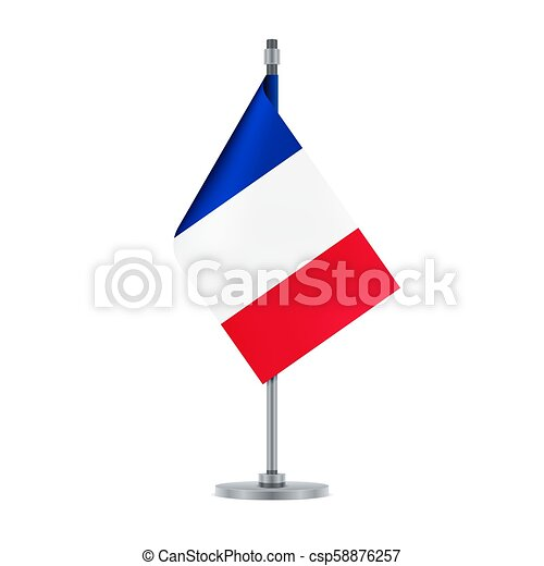 French flag, flat layout, vector illustration - csp58876257