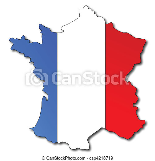 French Flag on a Map of France - csp4218719
