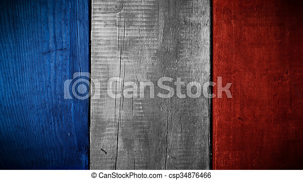 French flag on wood - csp34876466