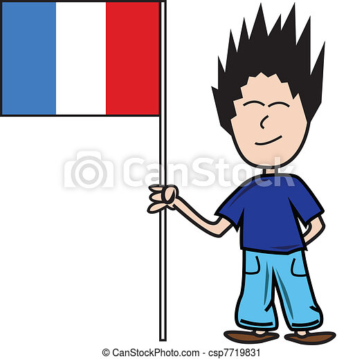 proud young male holding the french flag vector clip art search rh canstockphoto com french clip art oh lala france clip art free