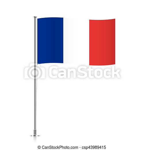 French flag waving on a metallic pole. France vector flag template ...
