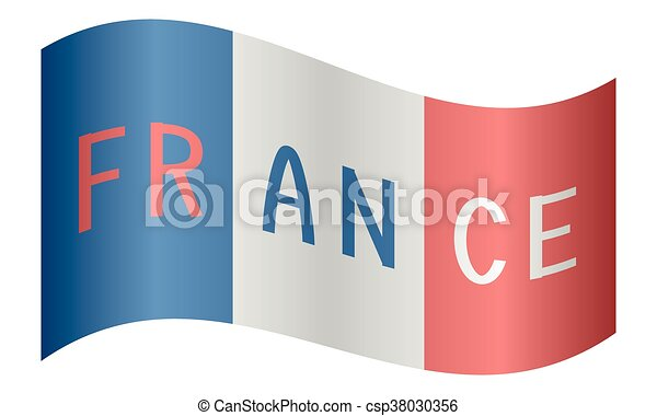 french flag waving with word france on white background
