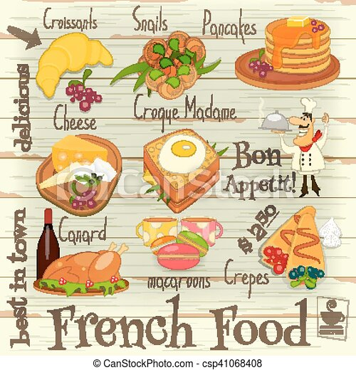 French Food Menu Card With Traditional Meal On On White  Vector