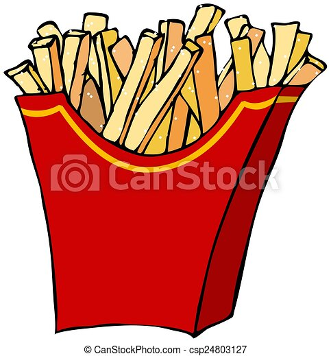 this illustration depicts a container of french fries rh canstockphoto com french fry clipart Single French Fry Clip Art