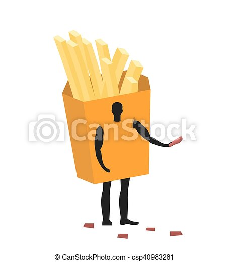 French fries costume man mascot promoter. Male in suit potato distributes flyers. Puppets food engaged in advertising goods - csp40983281