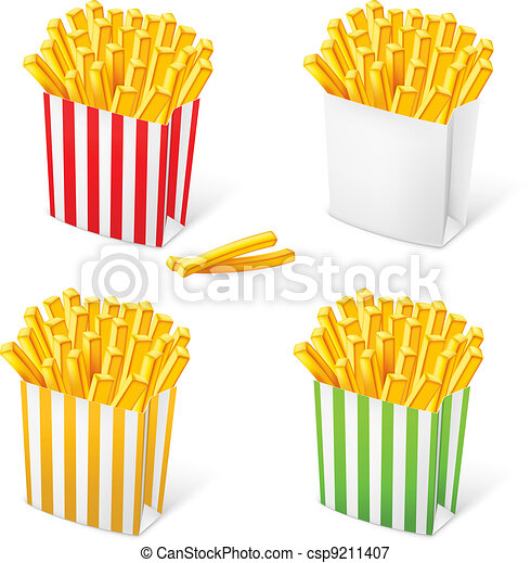 French fries in a multi-colored striped packaging - csp9211407