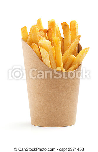 french fries in a paper wrapper on white background - csp12371453