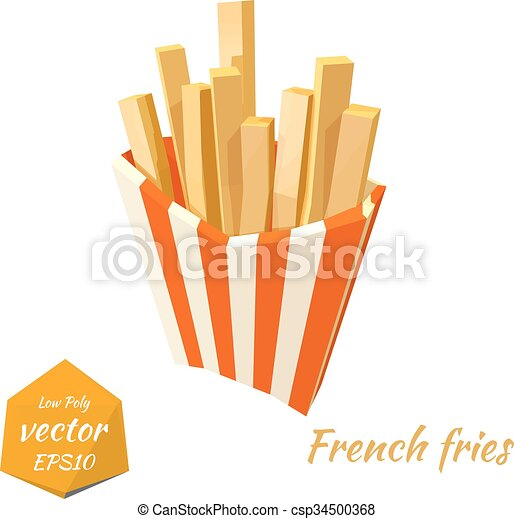 French Fries In A Red Box On A White Background Isolate Clip