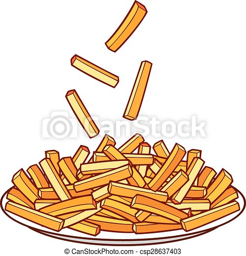 French fries on a plate (bowl of french fries) vector ...