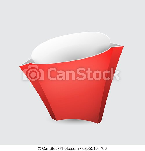 French Fries Red Paper Box On White Background Isolated Mock Up