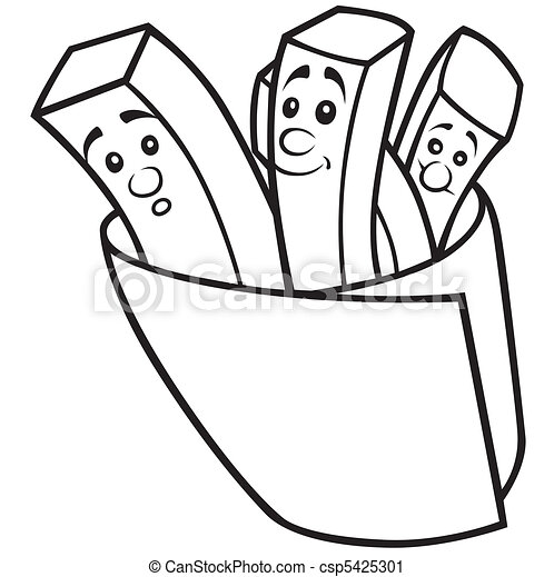 french fries black and white cartoon illustration vector vector rh canstockphoto com french fries clipart black and white france clipart black and white